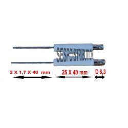 Electrode d'allumage de brûleur droit cosse 6.3 mm