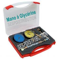 mallette valise de réglage pompe de fioul chaudière manomètre avec glycérine