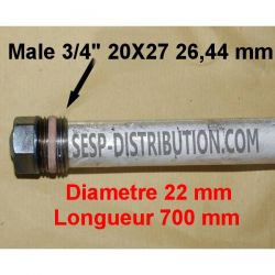 """Anode magnesium sacrificielle D22 Lg 700 M 3/4"""" 20x27"""