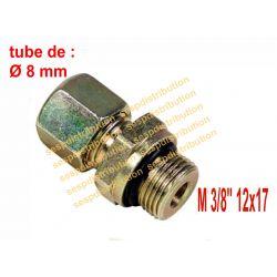 """raccord à compression M3/8"""" tube de 8 mm x DN10 avec joint torique + MS-SR version courte filetage cylindrique"""