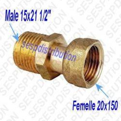 """Raccord gaz Femelle 20x150 Mâle 1/2"""" 15x21"""