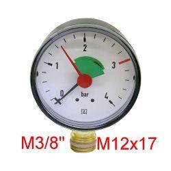 "Manomètre AFRISO 0 /4 Bars Diamètre 63 mm Mâle 3/8"" 12x17"