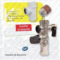 Lot groupe sécurité siege inox+ siphon+raccord dièlectrique