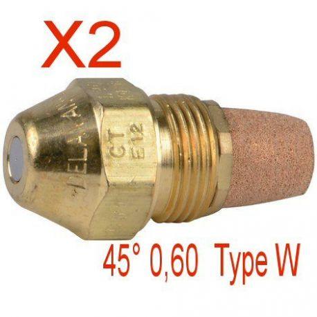 2X gicleur fioul fuel 45° 0.60 W marque DELAVAN chaudière fioul