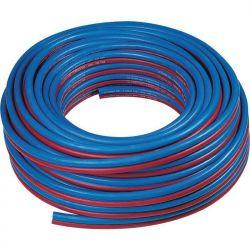 Tuyau caoutchouc Ø 6.3 mm bleu rouge 5 ML pour chalumeau oxygène et acétylène