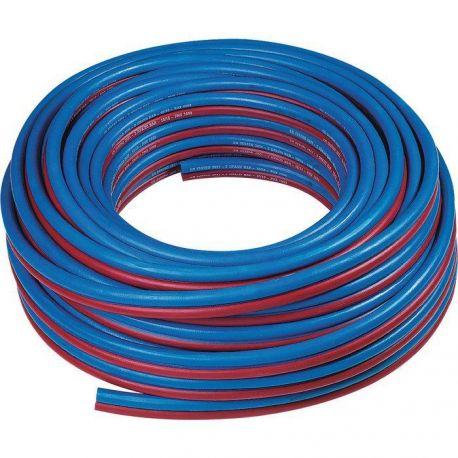 Tuyau caoutchouc Ø 6.3 mm bleu rouge pour chalumeau postes de soudage, découpage, oxygène et acétylène