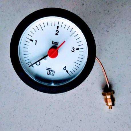 manomètre de chaudière 0/4 bars Ø 57 mm capillaire 1500 mm