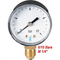 "manomètre 0/10 bars radial filetage M 1/4"" 8x13 plomberie sanitaire chauffage"
