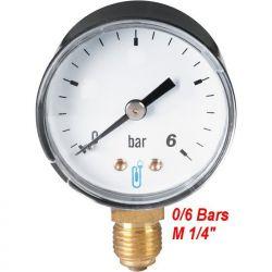"manomètre 0/6 bars radial filetage M 1/4"" 8x13 plomberie sanitaire chauffage"