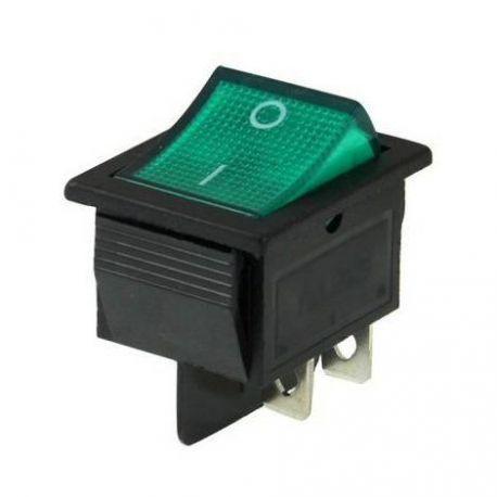 interrupteur on/off lumineux vert à bascule 4 cosses