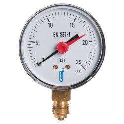 """Accessoire fioul manomètre pression maxi 0 à 25 bars M1/4"""" 8x13 Ø 63 mm"""