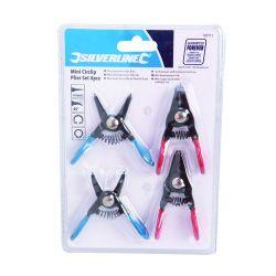 lot de 4 pinces pour mini circlips mini pince à circlips silverline 789711
