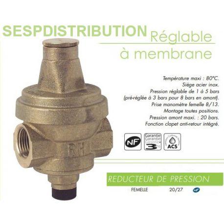 """Réducteur de pression d'eau réglable FF 20x27 3/4"""""""