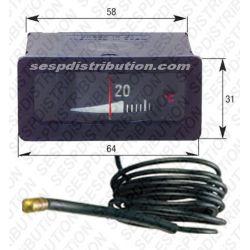 Thermomètre rectangulaire de chaudière lecture horizontale