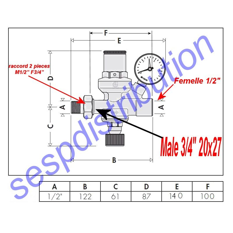 caleffi st 554 groupe de remplissage automatique pour. Black Bedroom Furniture Sets. Home Design Ideas