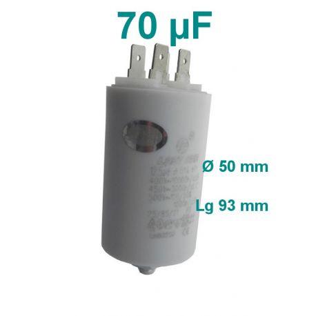 condensateur de démarrage 70 µF 450 longueur 93 mm