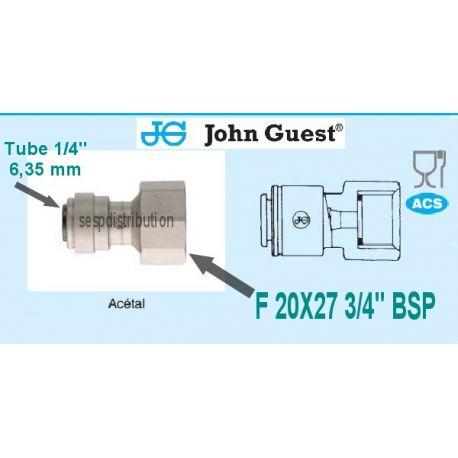 "raccord Femelle BFP 3/4"" 20x27 pour tube 1/4"" 6,35 mm John GUEST CI320816FS 591811"