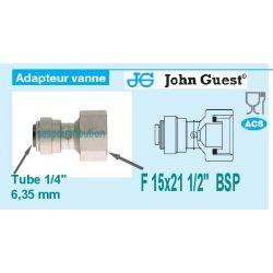 "raccord Femelle 1/2"" 15x21 pour tube 1/4"" 6,35 mm John GUEST ci320814s 582529"