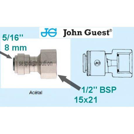 "raccord Femelle 1/2"" 15X21 Pour tube 5/16"" 8 mm John GUEST Pi451014FS 566222"