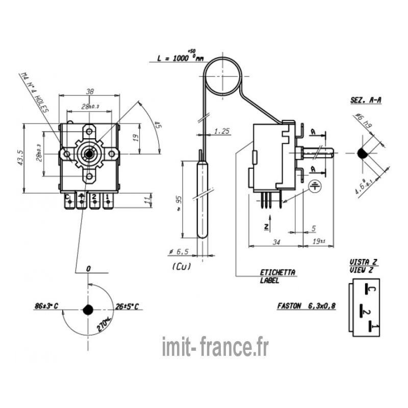 ... aquastat IMIT TR2 540359 0/90°C contact inverseur ...