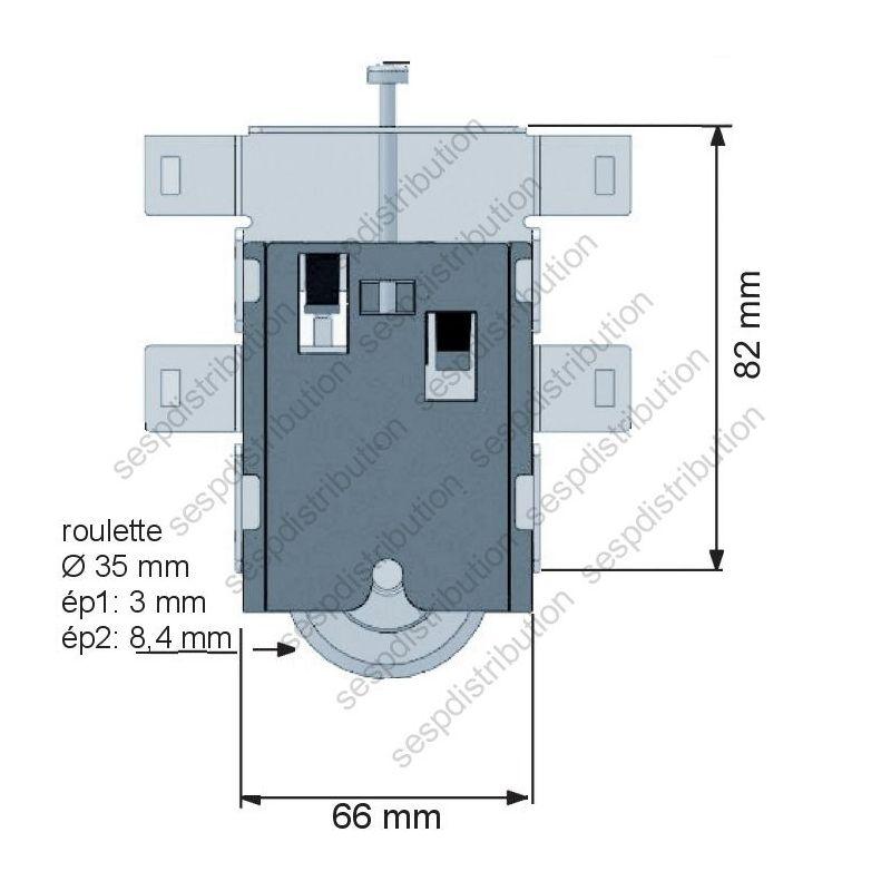 roulette de placard coulissant galet sifisa - sespdistribution - Roulette Pour Porte Coulissante De Placard