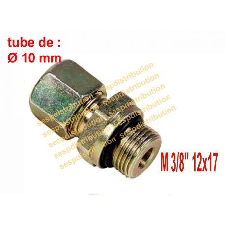 """raccord à compression M3/8"""" tube de 10 mm x DN10 avec joint torique + MS-SR version courte filetage cylindrique"""