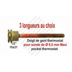 Doigt de gant Laiton et cuivre 3 longueurs disponible pocket thermostat copper