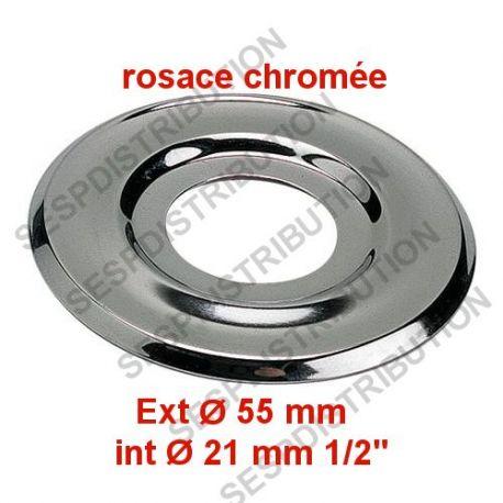 Rosace x2 en laiton chromé Ø Int 21mm Ø Ext 55mm