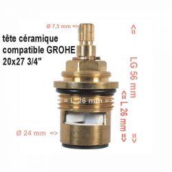 """tête céramique 1/2 tour filetage 20x27 3/4"""" Lg 56 mm"""