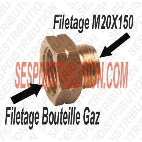 Raccord Gaz Femelle Bouteille Mâle 20X150