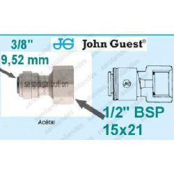 "raccord Femelle 1/2"" 15X21 Pour tube 3/8"" 9,52 mm John GUEST Pi451214FS 585586"