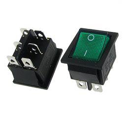 interrupteur on/off lumineux vert à bascule 6 cosses