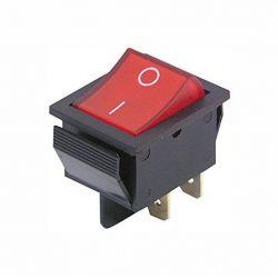 interrupteur on/off lumineux rouge à bascule 4 cosses