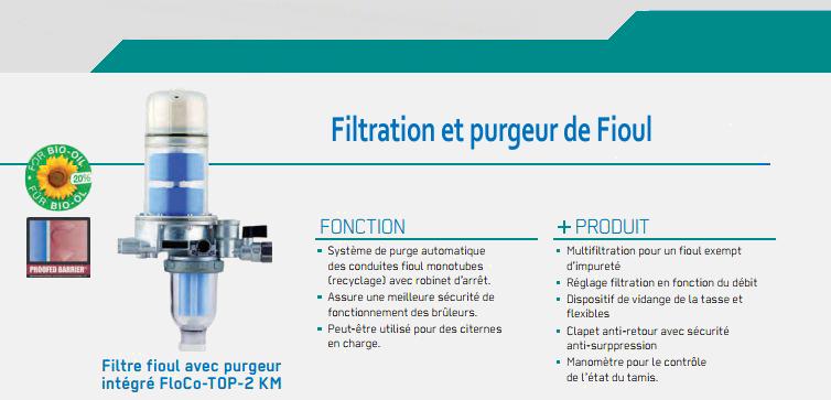 filtration et purgeur de fioul